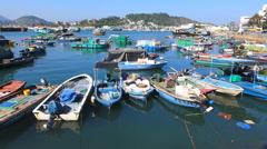 Cheung Chau island Chinese fishing boats shelter Hong Kong China Asia Stock Footage
