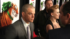 Matt Damon and Scarlett Johansson on the red carpet (BoughtZoo-40) Stock Footage