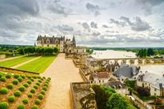 amboise, medieval castle, river and bridge. loire valley, france - stock photo