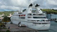 St Lucia harbor cruise ship Seabourn Spirit city HD 1702 Stock Footage