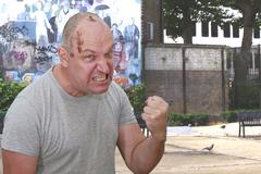 Angry man (Football Hooligan) Stock Photos