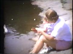 Baby girl and grandma feed ducks, meet duck closeup at pond, early 1960's Stock Footage