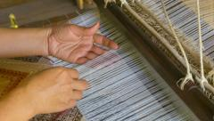 Producing fabrics with pattern - old traditional way Stock Footage
