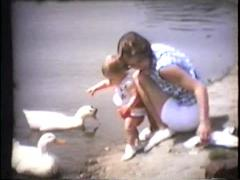 Baby girl and mom feed ducks, meet duck, walk, early 1960's Stock Footage