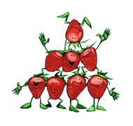 happy strawberries - stock illustration