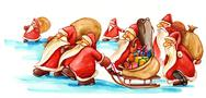 Stock Illustration of Santa Clauses with gifts