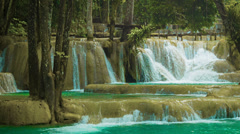 Forest kouang si waterfall, laos, luang prabang Stock Footage