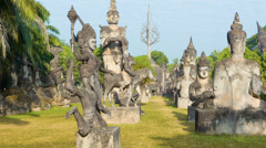 Sculpture buddha park (xieng khuan). vientiane, laos Stock Footage