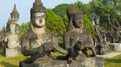 Sculpture buddha park (xieng khuan). laos, vientiane Stock Footage