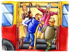 naughty boys on bus stop - stock illustration