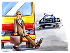Reckless man on the street Stock Illustration