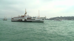 A shot of a boat passing by near the Bosporus in Istanbul - stock footage