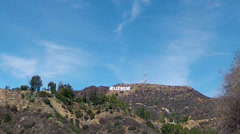 Dry Drought Stricken Hollywood Hills And Sign- Los Angeles CA Stock Footage