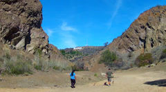 Hikers In Hollywood Hills- Bronson Cave Area- Los Angeles CA Stock Footage