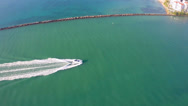 Stock Video Footage of Speed Boating in Miami aerial video