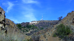 Hollywood Hills And Sign From Bronson Cave Hiking Area- Los Angeles CA Stock Footage