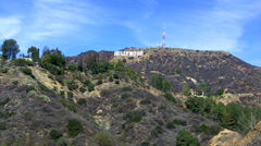 Hollywood Hills Radio Towers And Sign Zoom- Los Angeles CA Stock Footage