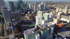 Altitude flight over Downtown Miami condos Stock Footage