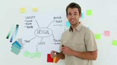 Designer presenting his ideas on a whiteboard Stock Footage