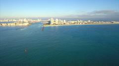 Flying towards Miami fast forward Stock Footage