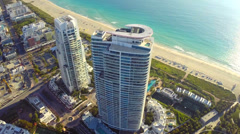 Artistic flyover of a building in Miami Beach Stock Footage