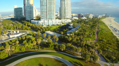 Aerial video of the Continuum Condominium in Miami Beach Stock Footage