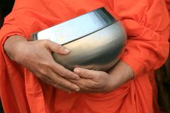 Buddhist monk's alms bowl, thailand Stock Photos