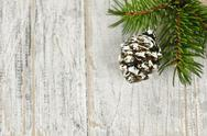 Stock Photo of christmas background with ornaments on branch