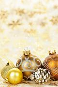 golden christmas ornaments background - stock photo
