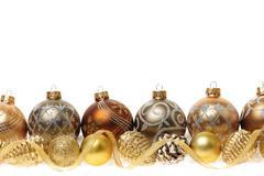 Stock Photo of golden christmas ornaments border