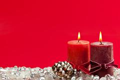 red christmas background with candles - stock photo