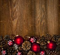 Stock Photo of wood background with christmas ornaments