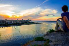 Havana (Habana) in sunset - stock photo