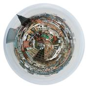 spherical view of london houses - stock illustration