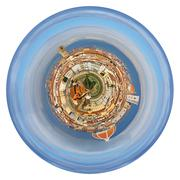 spherical view of florence italy from michelangelo park - stock illustration