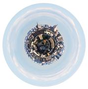 urban planet with spherical cityscape - stock illustration