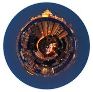 spherical panoramic view of moscow in night - stock illustration