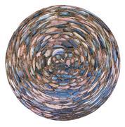 spherical view of cobblestone pavement - stock illustration
