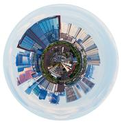 Stock Illustration of spherical view of moscow with tower buildings
