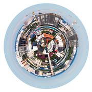urban spherical panorama of moscow living district - stock illustration