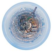 Stock Illustration of spherical panorama of paris with eiffel tower