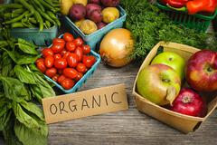 Stock Photo of organic market fruits and vegetables
