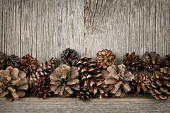 Stock Photo of rustic wood with pine cones
