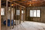 Stock Photo of home interior gutted for renovation