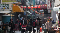 Cheung Chau island narrow lane street scene Hong Kong China Asia - stock footage