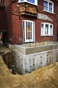 building addition to home - stock photo