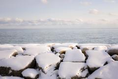 Winter shore of lake ontario Stock Photos