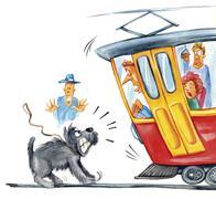 dog attacking the tram - stock illustration