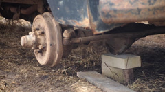 Old machine without wheel Stock Footage