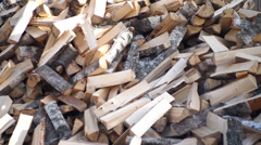Pile of firewood, background clip Stock Footage